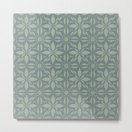 Shades of Green Woven Feather Tiles  Metal Print
