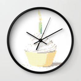 Happy Birthday Cupcake in a Real Cross Stitch Pattern - Color Coded Chart - Wearable Fiber Art Patte Wall Clock