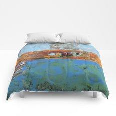 Alligator Blue Orange Modern Abstract Contemporary Art Comforters