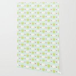 Sweet Green Apple Slices Pattern Wallpaper