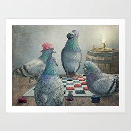 Checker Playing Pirate Pigeons Art Print