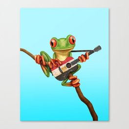 Tree Frog Playing Acoustic Guitar with Flag of Egypt Canvas Print
