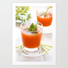 Tomato juice with parsley. Art Print