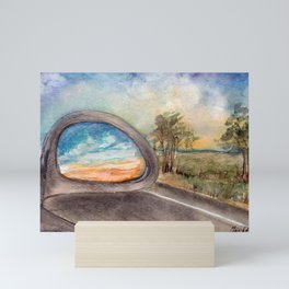 View from the car window at sunset by watercolor Mini Art Print