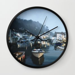 Polperro, Cornwall, Original Illustration. Wall Clock