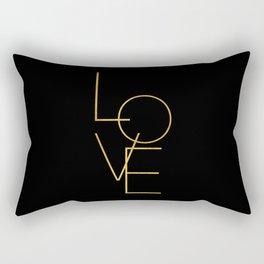 LOVE / black and gold Rectangular Pillow