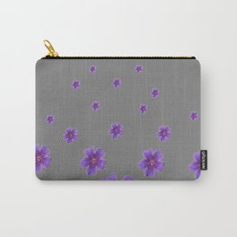 PURPLE FLOWERS COLLAGE CHARCOAL GREY Carry-All Pouch
