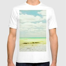 seascape MEDIUM White Mens Fitted Tee