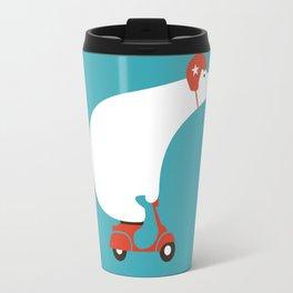 Polar bear on scooter Travel Mug