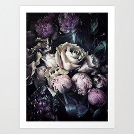 Roses and peonies vintage style Art Print