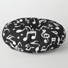 Music notes Pattern Black and White Floor Pillow