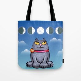 Cat looking at the moon Tote Bag