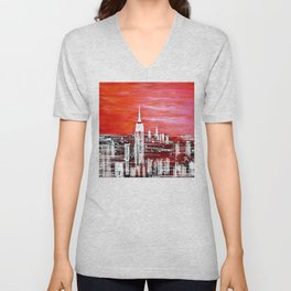 Abstract Red In The City Design Unisex V-Neck