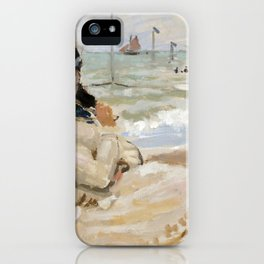 Claude Monet - Camille on the Beach in Trouville iPhone Case