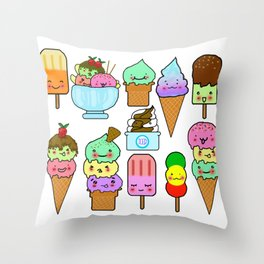Summer Ice Cream Throw Pillow