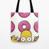 simpson Tote Bags featuring Strange Homer Simpson by Yuliya L