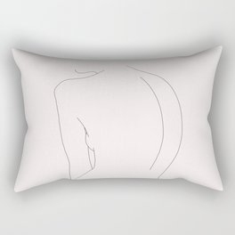 Woman's nude back line drawing illustration - Alex Natural Rectangular Pillow