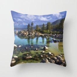 Sand Harbor Morning Throw Pillow