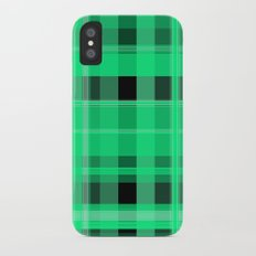 Shades of Green and Black Plaid Slim Case iPhone X