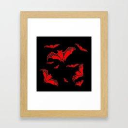 Black & Red Flying Bats Halloween Framed Art Print