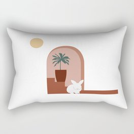 White bunny & Palm tree Rectangular Pillow
