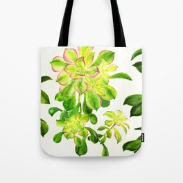 Kiwi Pink Succulents Tote Bag