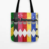 power rangers Tote Bags featuring Mighty Morphin Power Rangers by Some_Designs