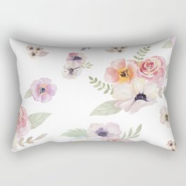 Floral I - White Rectangular Pillow
