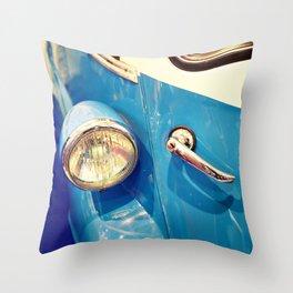 Headlight and handle door of vintage car Throw Pillow