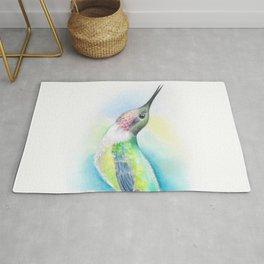 Singing Anna's Hummingbird Watercolor Art Rug