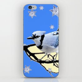 BLUE JAY DESIGN IN YELLOW-BLUE SNOWFLAKES ART iPhone Skin