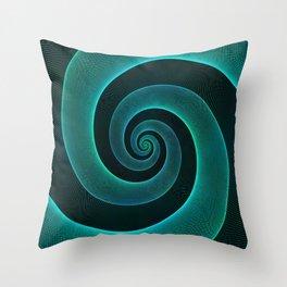 Magical Teal Green Spiral Design Throw Pillow