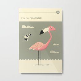 F is for FLAMINGO Metal Print