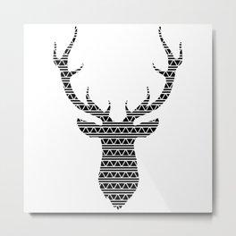 Patterned Stag's Head Metal Print