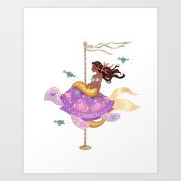 Mermaid Carousel - The Sea Turtle Art Print