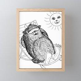 Mega Monster Sunbath BW Framed Mini Art Print