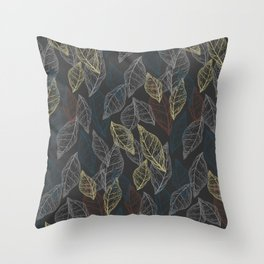 Dryed leaves, leaves silhouettes. Skeleton colored leaves. Autumn illustration. Lines on dark background. Throw Pillow