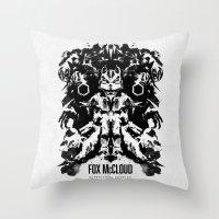 starfox Throw Pillows featuring Fox McCloud Star Fox Inspired Geek Psychological Inkblot by Barrett Biggers