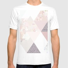 Triangles in glittering Rose quartz - pink glitter triangle pattern White Mens Fitted Tee MEDIUM