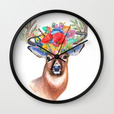 Watercolor Fairytale Stag With Crown Of Flowers Wall Clock