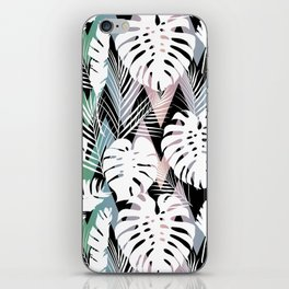 Blush pink green white hand painted tropical leaves chevron iPhone Skin