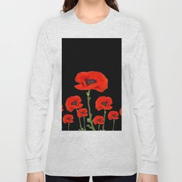 RED-ORANGE POPPIES DESIGN ON BLACK ART Long Sleeve T-shirt