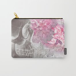 Negative Of Skull And Peonies Carry-All Pouch