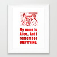 resident evil Framed Art Prints featuring RESIDENT EVIL - ALICE REMEMBERS by Robin Stevens