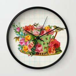 Bird on a teacup Wall Clock
