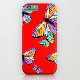 Rainbow Colored Butterflies Red art Design iPhone Case