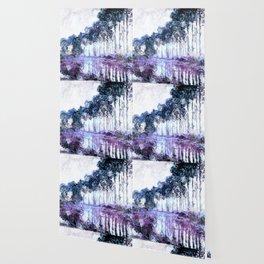 Monet : Poplars Lavender Periwinkle Deep Blue Wallpaper