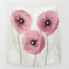 Pink Vintage Poppies II Wall Tapestry