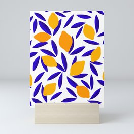 Blue and yellow Lemon Summery Pattern Mini Art Print