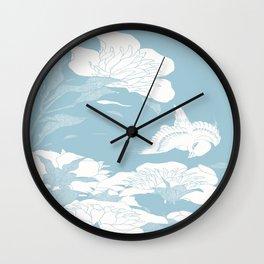 Japanese flower Blue Wall Clock